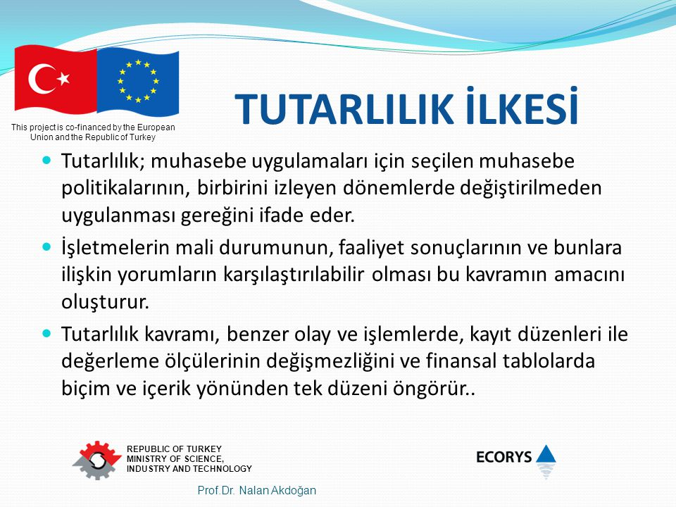 This project is co-financed by the European Union and the Republic of Turkey REPUBLIC OF TURKEY MINISTRY OF SCIENCE, INDUSTRY AND TECHNOLOGY TUTARLILI
