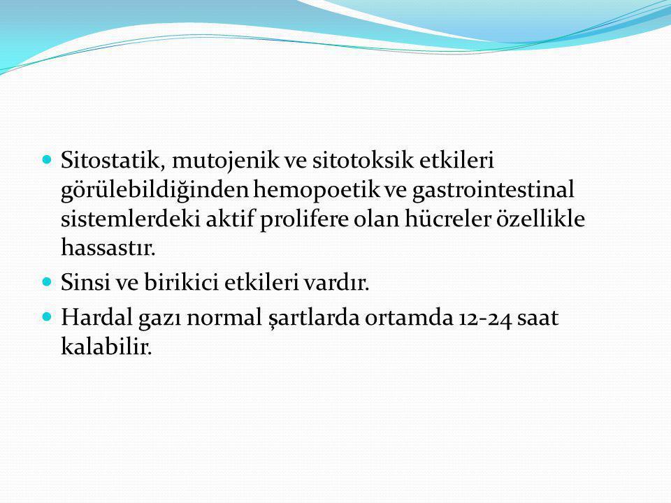 Sitostatik, mutojenik ve sitotoksik etkileri görülebildiğinden hemopoetik ve gastrointestinal sistemlerdeki aktif prolifere olan hücreler özellikle hassastır.
