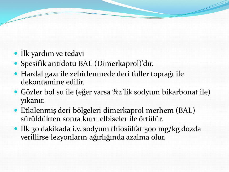 İlk yardım ve tedavi Spesifik antidotu BAL (Dimerkaprol)'dır.