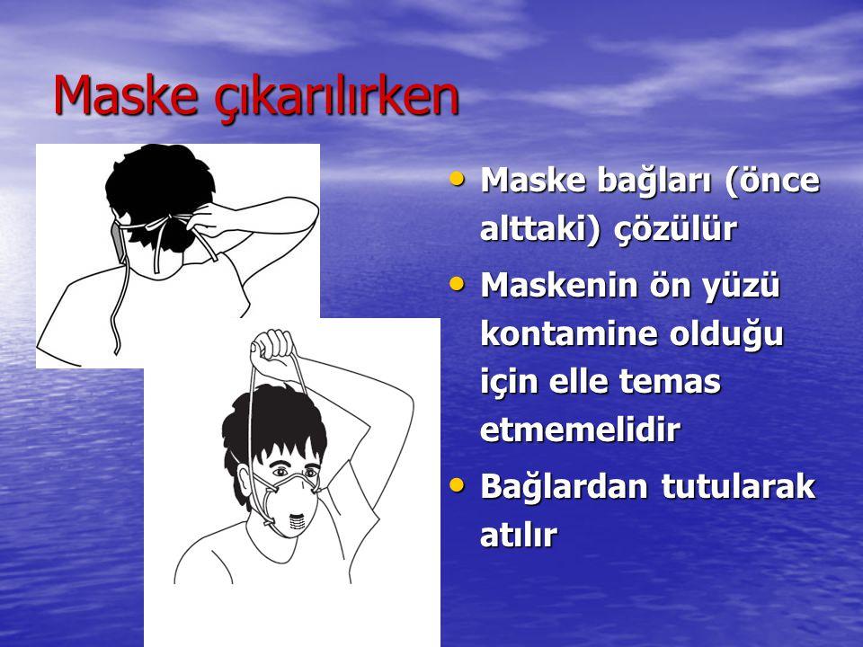 Maske çıkarılırken Maske bağları (önce alttaki) çözülür Maske bağları (önce alttaki) çözülür Maskenin ön yüzü kontamine olduğu için elle temas etmemel
