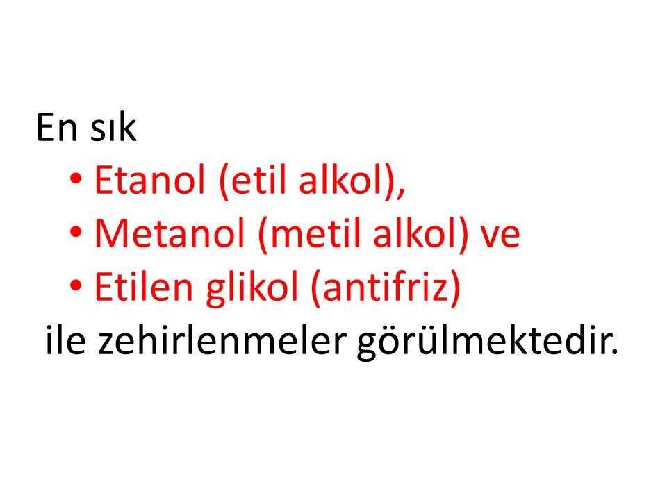 En sık Etanol (etil alkol), Metanol (metil alkol) ve Etilen glikol (antifriz) ile zehirlenmeler görülmektedir.