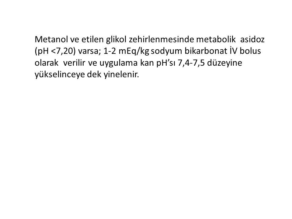 Metanol ve etilen glikol zehirlenmesinde metabolik asidoz (pH <7,20) varsa; 1-2 mEq/kg sodyum bikarbonat İV bolus olarak verilir ve uygulama kan pH'sı 7,4-7,5 düzeyine yükselinceye dek yinelenir.