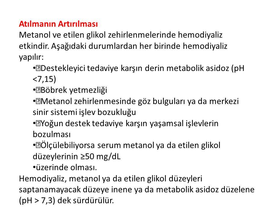 Atılmanın Artırılması Metanol ve etilen glikol zehirlenmelerinde hemodiyaliz etkindir.