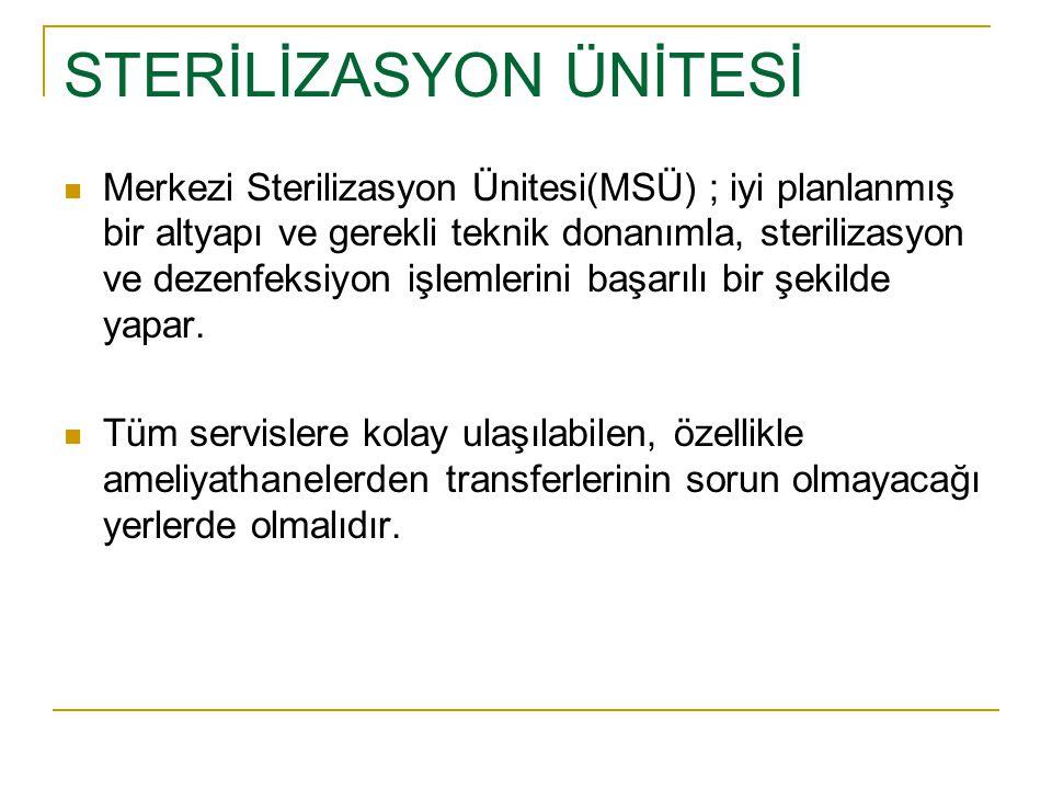 STERİLİZASYON ÜNİTESİ Merkezi Sterilizasyon Ünitesi(MSÜ) ; iyi planlanmış bir altyapı ve gerekli teknik donanımla, sterilizasyon ve dezenfeksiyon işle