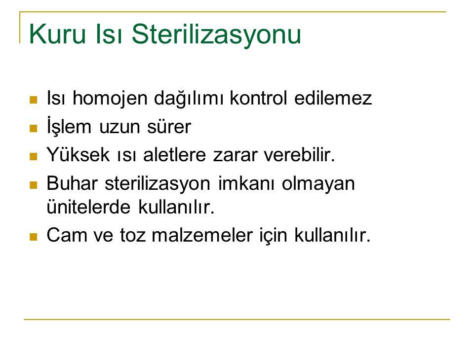 Kuru Isı Sterilizasyonu Isı homojen dağılımı kontrol edilemez İşlem uzun sürer Yüksek ısı aletlere zarar verebilir. Buhar sterilizasyon imkanı olmayan