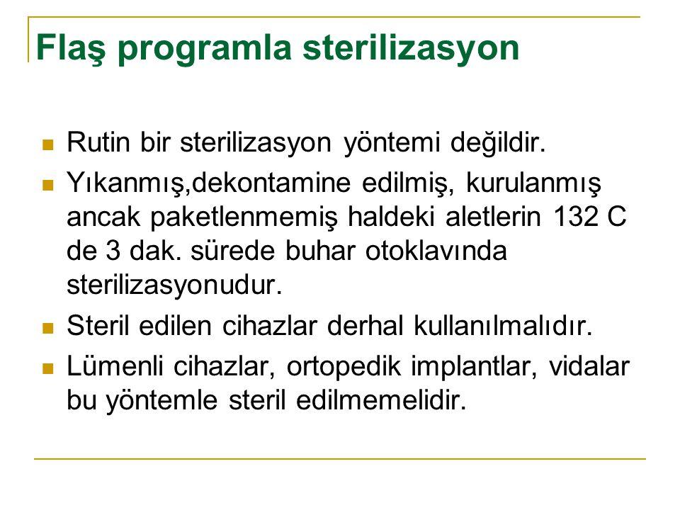 Flaş programla sterilizasyon Rutin bir sterilizasyon yöntemi değildir. Yıkanmış,dekontamine edilmiş, kurulanmış ancak paketlenmemiş haldeki aletlerin