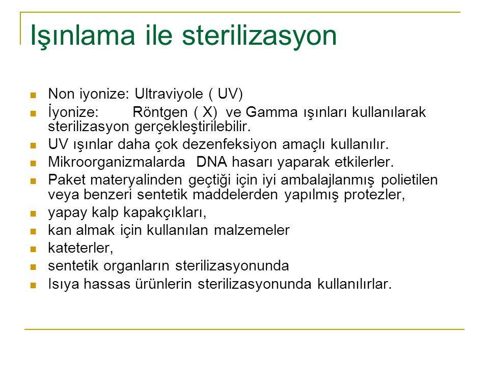 Işınlama ile sterilizasyon Non iyonize: Ultraviyole ( UV) İyonize: Röntgen ( X) ve Gamma ışınları kullanılarak sterilizasyon gerçekleştirilebilir. UV