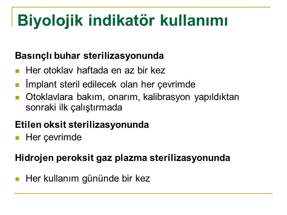 Biyolojik indikatör kullanımı Basınçlı buhar sterilizasyonunda Her otoklav haftada en az bir kez İmplant steril edilecek olan her çevrimde Otoklavlara