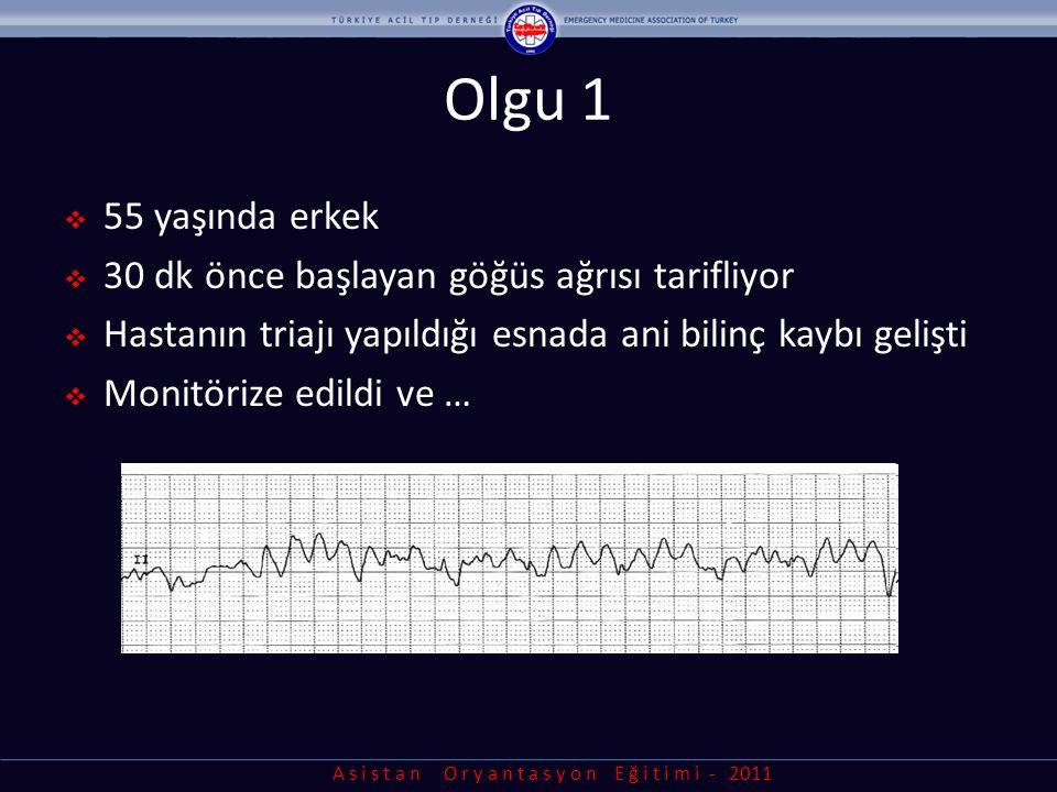 A s i s t a n O r y a n t a s y o n E ğ i t i m i - 2011 Olgu 2  60 yaşında kadın  Nefes darlığı ve göğüste baskı nedeniyle acil servise getirildi  TA: 90/60 mmHg, Nb:30/dk  Akciğerlerinde dinlemekle bilateral raller (+)  Hastanın EKG'si:
