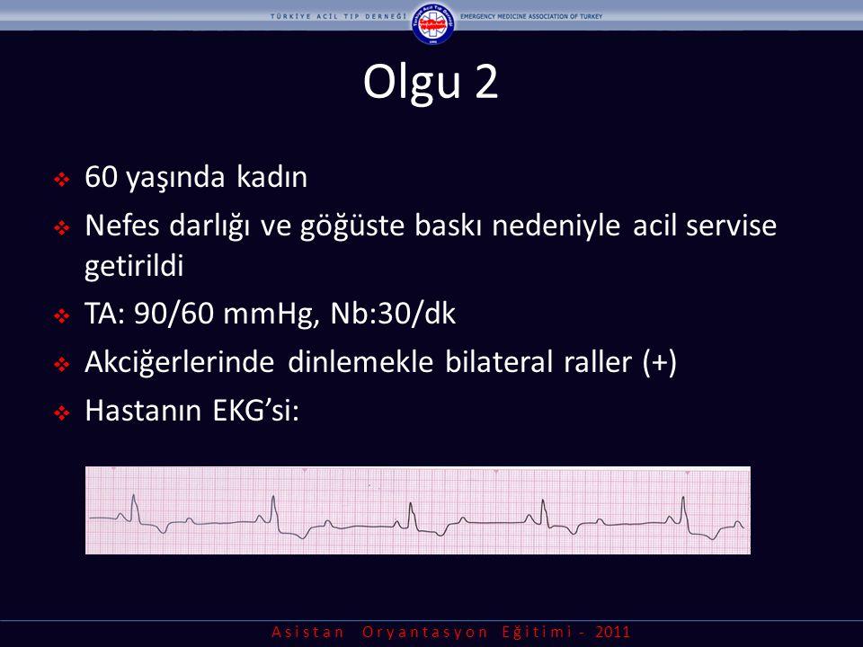 A s i s t a n O r y a n t a s y o n E ğ i t i m i - 2011 Defibrilasyon dozu  Şok enerjisi - Bifazik: 120-200 J (daha sonrakiler eşit / yüksek) - Monofazik: 360 J Bifazik defibrilatör için üreticinin önerdiği dozu bilin ve o dozdan başlayın