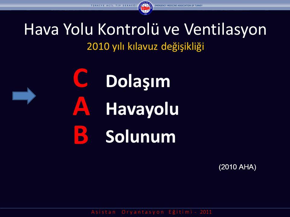A s i s t a n O r y a n t a s y o n E ğ i t i m i - 2011 Hava Yolu Kontrolü ve Ventilasyon 2010 yılı kılavuz değişikliği C A B (2010 AHA) Dolaşım Hava