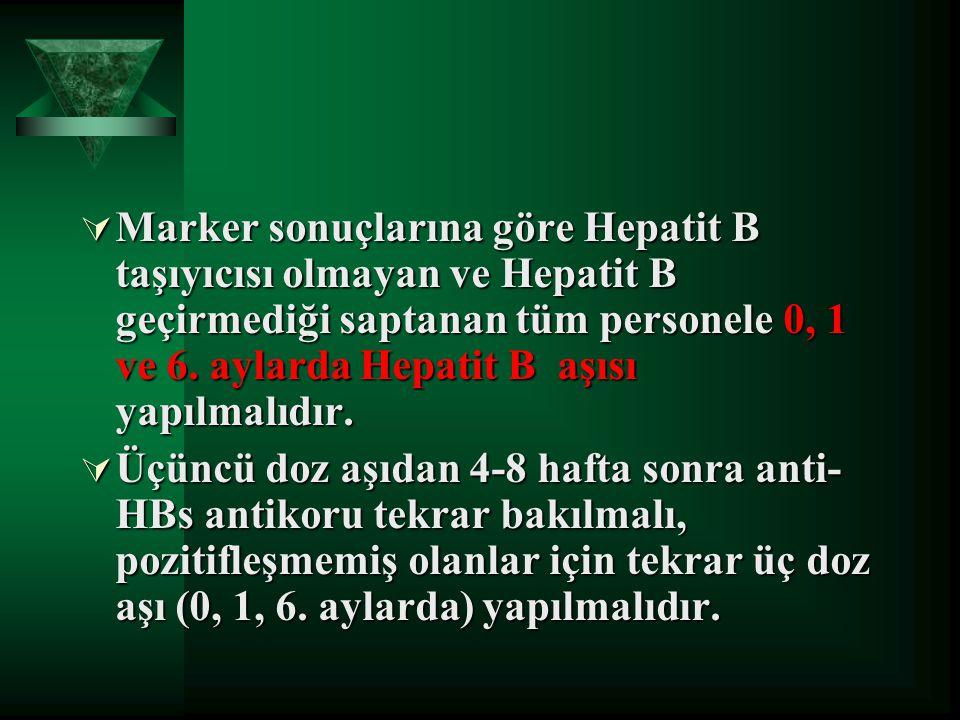  Marker sonuçlarına göre Hepatit B taşıyıcısı olmayan ve Hepatit B geçirmediği saptanan tüm personele 0, 1 ve 6. aylarda Hepatit B aşısı yapılmalıdır