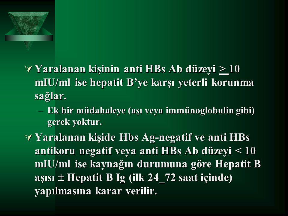  Yaralanan kişinin anti HBs Ab düzeyi > 10 mIU/ml ise hepatit B'ye karşı yeterli korunma sağlar. –Ek bir müdahaleye (aşı veya immünoglobulin gibi) ge
