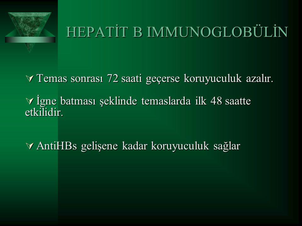 HEPATİT B IMMUNOGLOBÜLİN  Temas sonrası 72 saati geçerse koruyuculuk azalır.  İgne batması şeklinde temaslarda ilk 48 saatte etkilidir.  AntiHBs ge