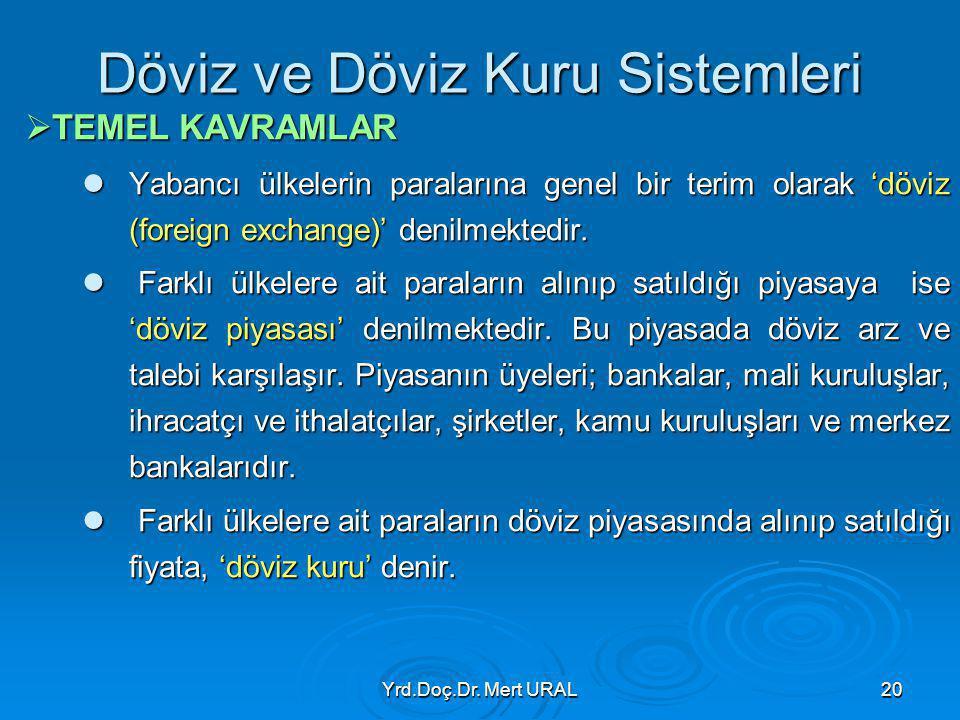 Yrd.Doç.Dr. Mert URAL20 Döviz ve Döviz Kuru Sistemleri  TEMEL KAVRAMLAR Yabancı ülkelerin paralarına genel bir terim olarak 'döviz (foreign exchange)