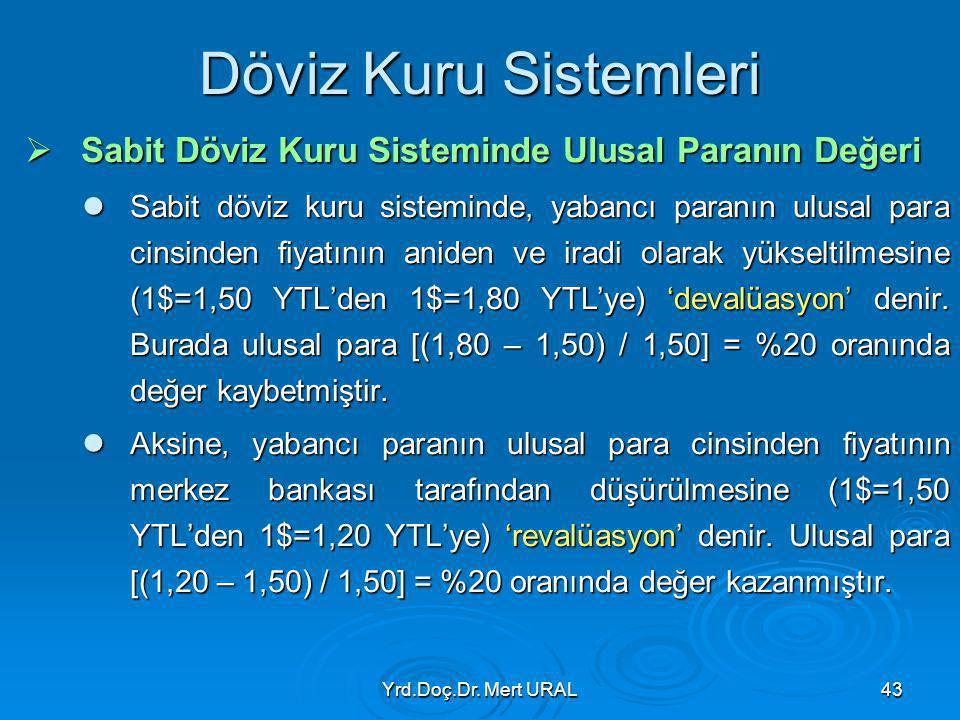 Yrd.Doç.Dr. Mert URAL43 Döviz Kuru Sistemleri  Sabit Döviz Kuru Sisteminde Ulusal Paranın Değeri Sabit döviz kuru sisteminde, yabancı paranın ulusal