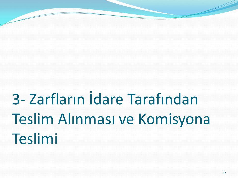3- Zarfların İdare Tarafından Teslim Alınması ve Komisyona Teslimi 21