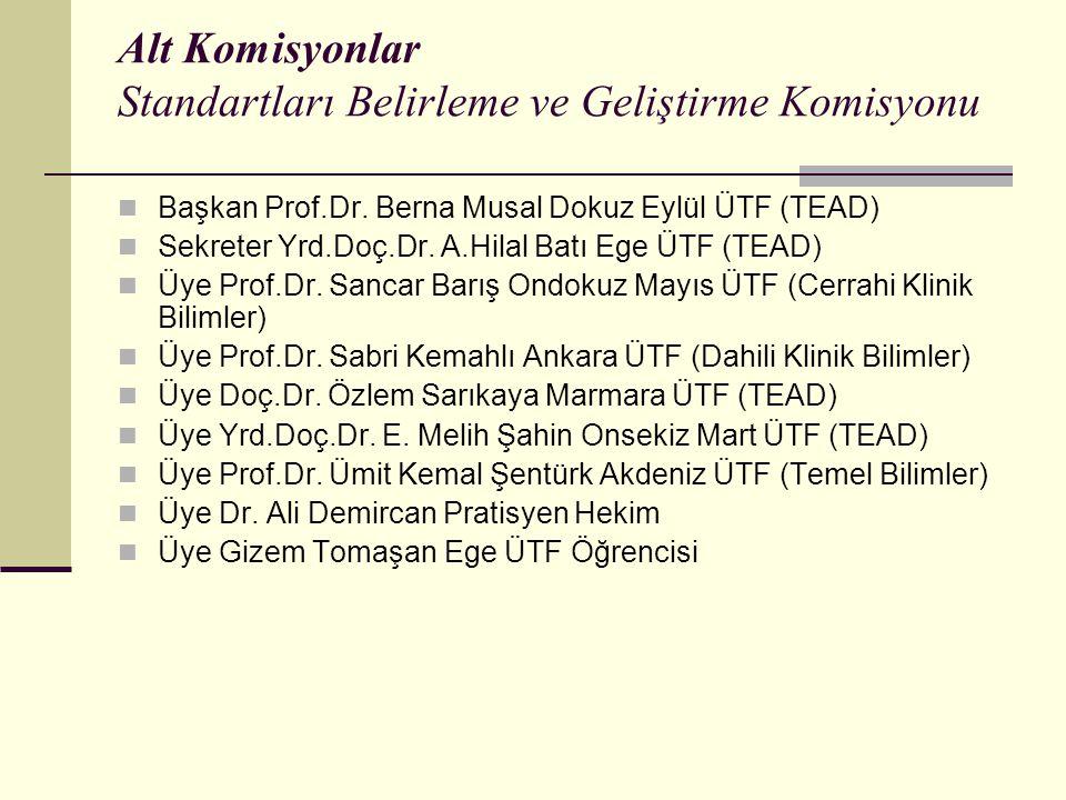 Alt Komisyonlar Standartları Belirleme ve Geliştirme Komisyonu Başkan Prof.Dr.