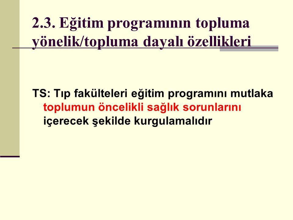 2.3. Eğitim programının topluma yönelik/topluma dayalı özellikleri TS: Tıp fakülteleri eğitim programını mutlaka toplumun öncelikli sağlık sorunlarını