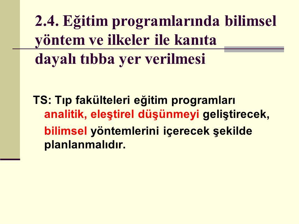 2.4. Eğitim programlarında bilimsel yöntem ve ilkeler ile kanıta dayalı tıbba yer verilmesi TS: Tıp fakülteleri eğitim programları analitik, eleştirel