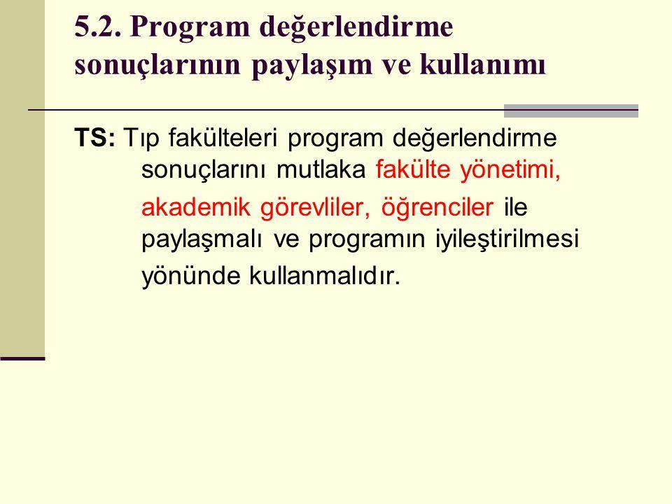 5.2. Program değerlendirme sonuçlarının paylaşım ve kullanımı TS: Tıp fakülteleri program değerlendirme sonuçlarını mutlaka fakülte yönetimi, akademik