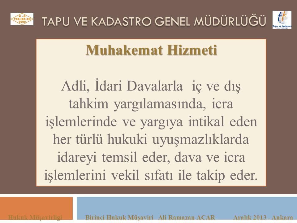 TAPU VE KADASTRO GENEL MÜDÜRLÜ Ğ Ü Hukuk Müşavirliği Birinci Hukuk Müşaviri Ali Ramazan ACAR Aralık 2013 - Ankara Muhakemat Hizmeti Adli, İdari Davala
