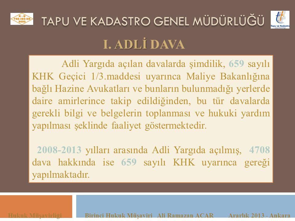 TAPU VE KADASTRO GENEL MÜDÜRLÜ Ğ Ü Hukuk Müşavirliği Birinci Hukuk Müşaviri Ali Ramazan ACAR Ararlık 2013 - Ankara ADLİ I. ADLİ DAVA Adli Yargıda açıl