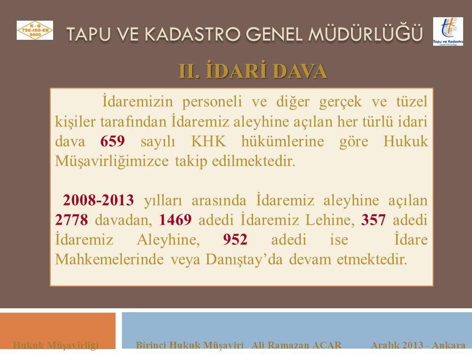 TAPU VE KADASTRO GENEL MÜDÜRLÜ Ğ Ü Hukuk Müşavirliği Birinci Hukuk Müşaviri Ali Ramazan ACAR Aralık 2013 - Ankara II. İDARİ DAVA İdaremizin personeli