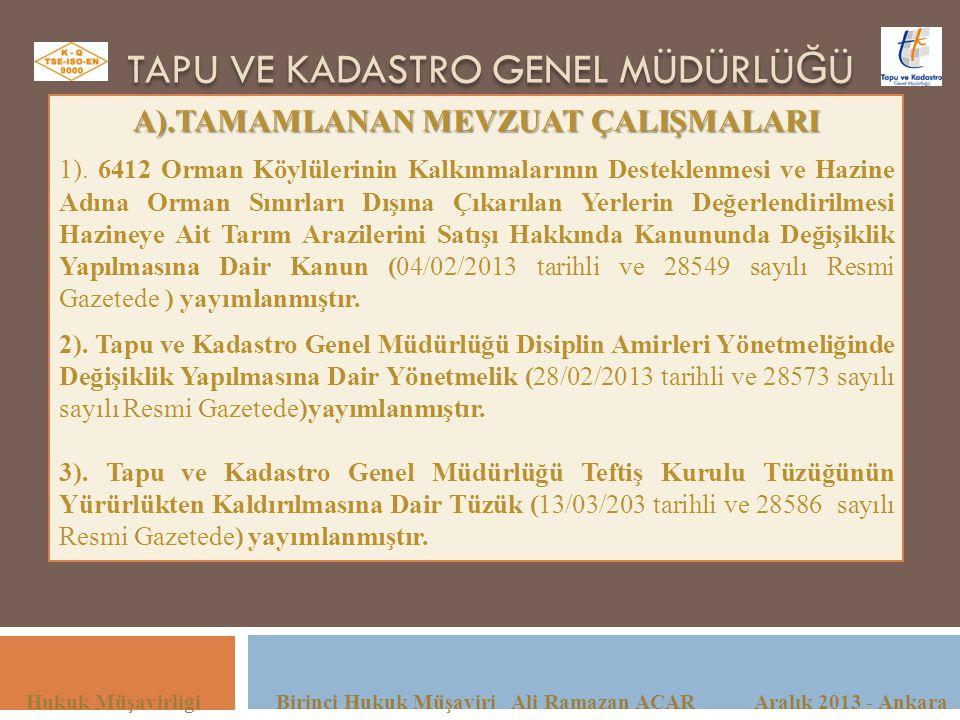 TAPU VE KADASTRO GENEL MÜDÜRLÜ Ğ Ü Hukuk Müşavirliği Birinci Hukuk Müşaviri Ali Ramazan ACAR Aralık 2013 - Ankara A).TAMAMLANAN MEVZUAT ÇALIŞMALARI 1)