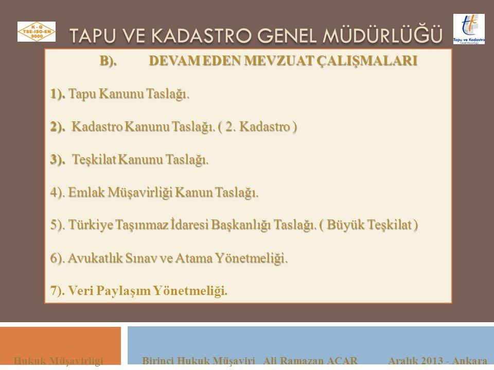 TAPU VE KADASTRO GENEL MÜDÜRLÜ Ğ Ü Hukuk Müşavirliği Birinci Hukuk Müşaviri Ali Ramazan ACAR Aralık 2013 - Ankara B).DEVAM EDEN MEVZUAT ÇALIŞMALARI 1)