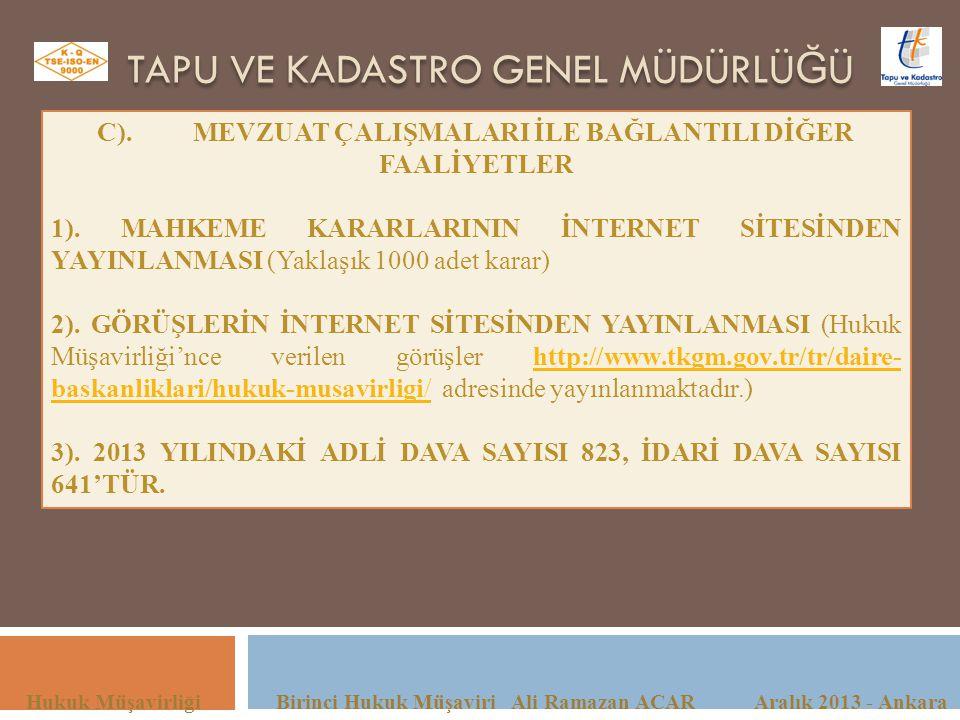 TAPU VE KADASTRO GENEL MÜDÜRLÜ Ğ Ü Hukuk Müşavirliği Birinci Hukuk Müşaviri Ali Ramazan ACAR Aralık 2013 - Ankara C).MEVZUAT ÇALIŞMALARI İLE BAĞLANTIL