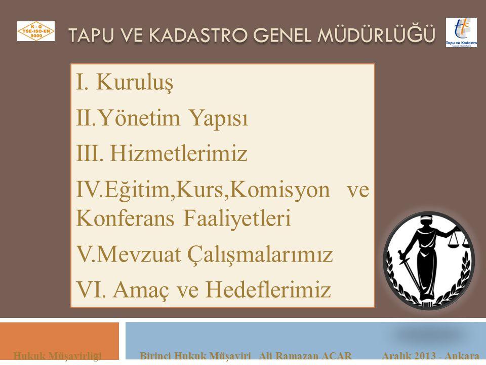 TAPU VE KADASTRO GENEL MÜDÜRLÜ Ğ Ü Hukuk Müşavirliği Birinci Hukuk Müşaviri Ali Ramazan ACAR Aralık 2013 - Ankara I. Kuruluş II.Yönetim Yapısı III.Hiz