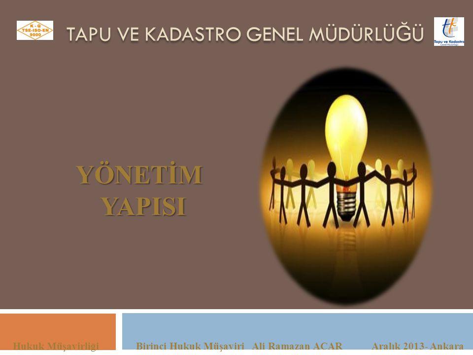 TAPU VE KADASTRO GENEL MÜDÜRLÜ Ğ Ü Hukuk Müşavirliği Birinci Hukuk Müşaviri Ali Ramazan ACAR Aralık 2013- Ankara YÖNETİMYAPISI