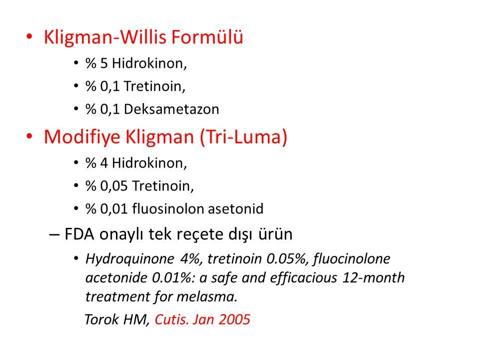 Kligman-Willis Formülü % 5 Hidrokinon, % 0,1 Tretinoin, % 0,1 Deksametazon Modifiye Kligman (Tri-Luma) % 4 Hidrokinon, % 0,05 Tretinoin, % 0,01 fluosinolon asetonid – FDA onaylı tek reçete dışı ürün Hydroquinone 4%, tretinoin 0.05%, fluocinolone acetonide 0.01%: a safe and efficacious 12-month treatment for melasma.