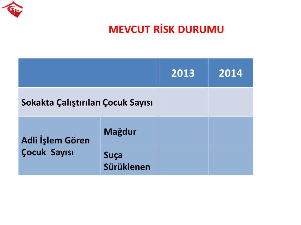 MEVCUT RİSK DURUMU 20132014 Sokakta Çalıştırılan Çocuk Sayısı Adli İşlem Gören Çocuk Sayısı Mağdur Suça Sürüklenen