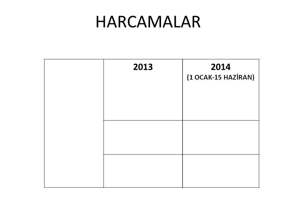 2014 (1 OCAK-15 HAZİRAN) HARCAMALAR 2013