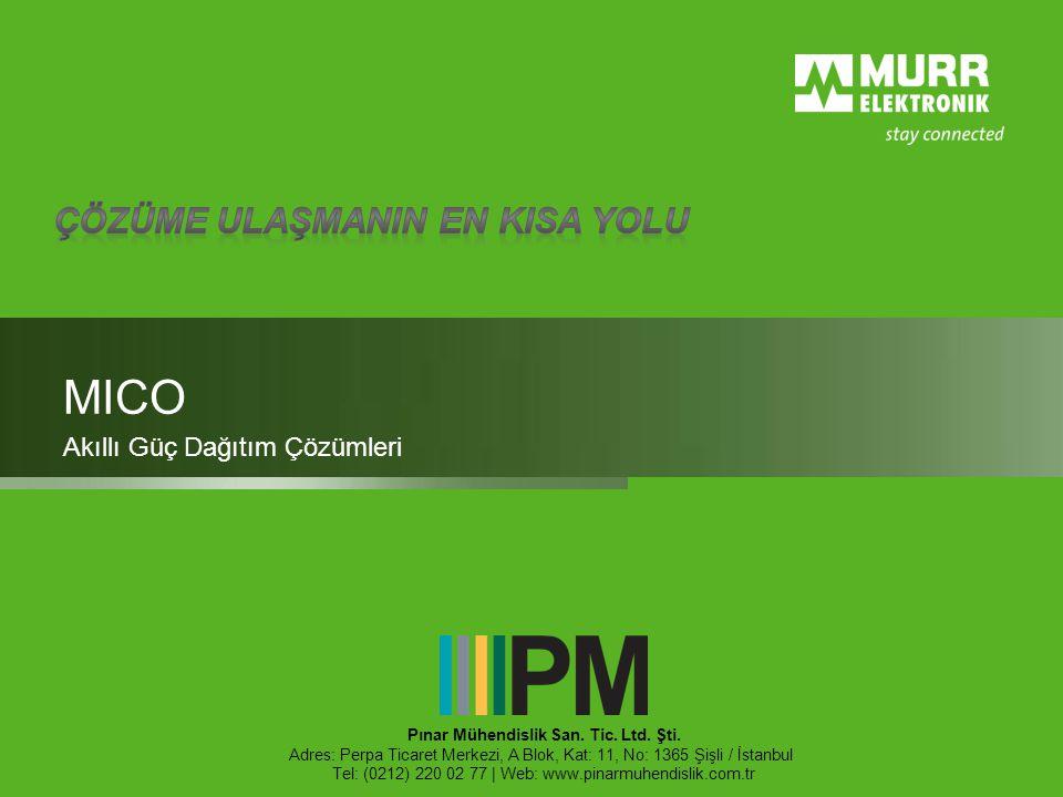 MICO Akıllı Güç Dağıtım Çözümleri Pınar Mühendislik San. Tic. Ltd. Şti. Adres: Perpa Ticaret Merkezi, A Blok, Kat: 11, No: 1365 Şişli / İstanbul Tel:
