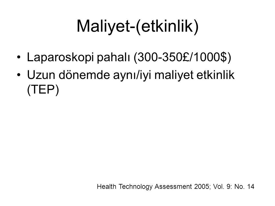 Maliyet-(etkinlik) Laparoskopi pahalı (300-350£/1000$) Uzun dönemde aynı/iyi maliyet etkinlik (TEP) Health Technology Assessment 2005; Vol. 9: No. 14