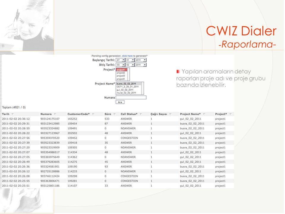 CWIZ Dialer - Raporlama- Yapılan aramaların detay raporları proje adı ve proje grubu bazında izlenebilir.
