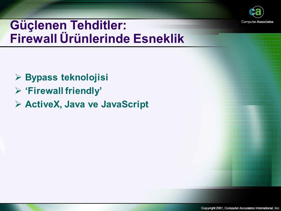 Copyright 2001, Computer Associates International, Inc Güçlenen Tehditler: Firewall Ürünlerinde Esneklik  Bypass teknolojisi  'Firewall friendly'  ActiveX, Java ve JavaScript