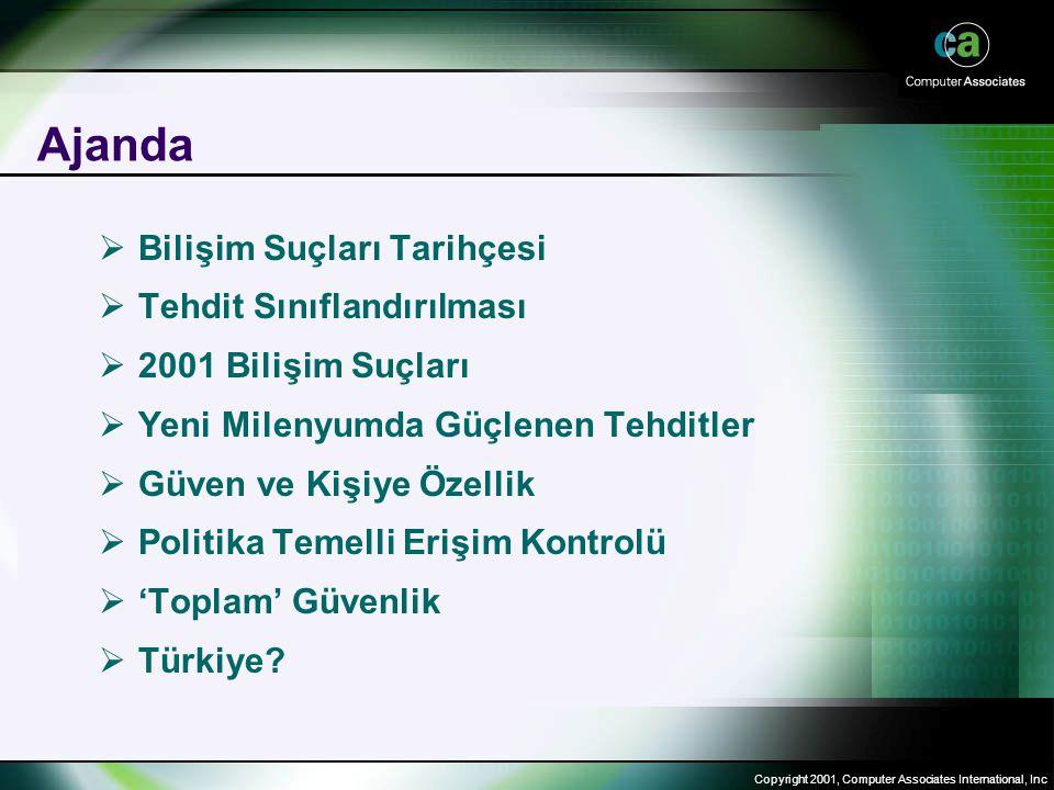 Copyright 2001, Computer Associates International, Inc Ajanda  Bilişim Suçları Tarihçesi  Tehdit Sınıflandırılması  2001 Bilişim Suçları  Yeni Milenyumda Güçlenen Tehditler  Güven ve Kişiye Özellik  Politika Temelli Erişim Kontrolü  'Toplam' Güvenlik  Türkiye?