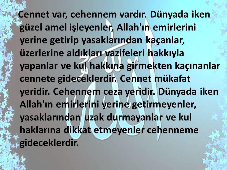 Cennet var, cehennem vardır. Dünyada iken güzel amel işleyenler, Allah'ın emirlerini yerine getirip yasaklarından kaçanlar, üzerlerine aldıkları vazif