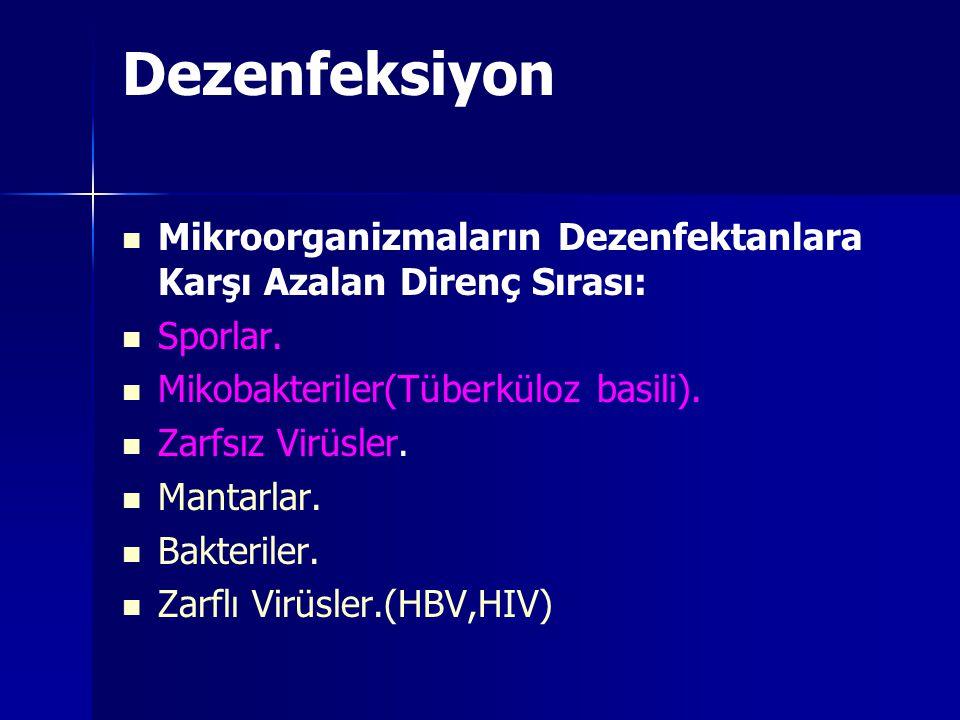 Dezenfeksiyon Mikroorganizmaların Dezenfektanlara Karşı Azalan Direnç Sırası: Sporlar. Mikobakteriler(Tüberküloz basili). Zarfsız Virüsler. Mantarlar.