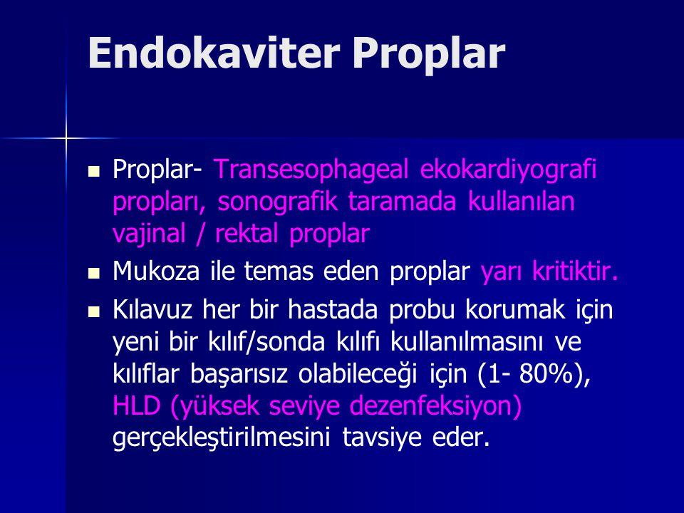Endokaviter Proplar Proplar- Transesophageal ekokardiyografi propları, sonografik taramada kullanılan vajinal / rektal proplar Mukoza ile temas eden proplar yarı kritiktir.