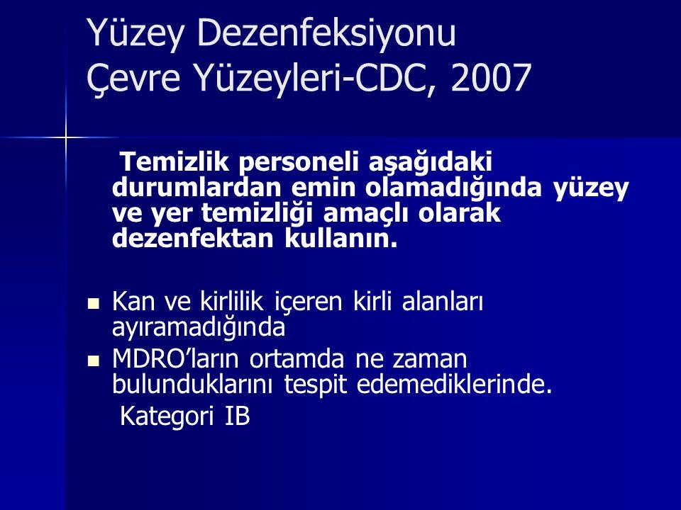 Yüzey Dezenfeksiyonu Çevre Yüzeyleri-CDC, 2007 Temizlik personeli aşağıdaki durumlardan emin olamadığında yüzey ve yer temizliği amaçlı olarak dezenfe