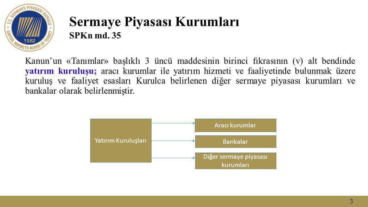 3 Sermaye Piyasası Kurumları SPKn md. 35 Kanun'un «Tanımlar» başlıklı 3 üncü maddesinin birinci fıkrasının (v) alt bendinde yatırım kuruluşu; aracı ku