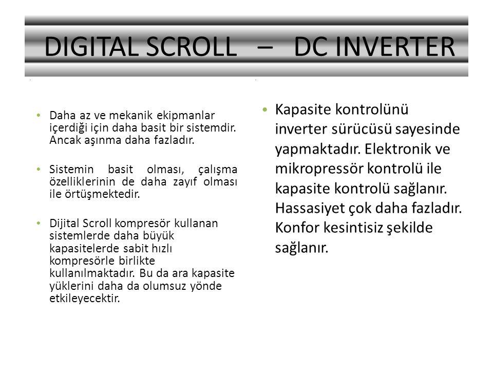 .. DIGITAL SCROLL – DC INVERTER Daha az ve mekanik ekipmanlar içerdiği için daha basit bir sistemdir. Ancak aşınma daha fazladır. Sistemin basit olmas