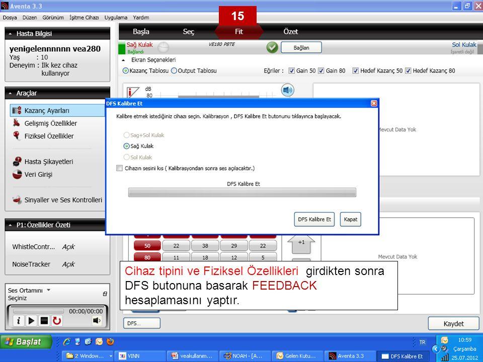 Cihaz tipini ve Fiziksel Özellikleri girdikten sonra DFS butonuna basarak FEEDBACK hesaplamasını yaptır. 15