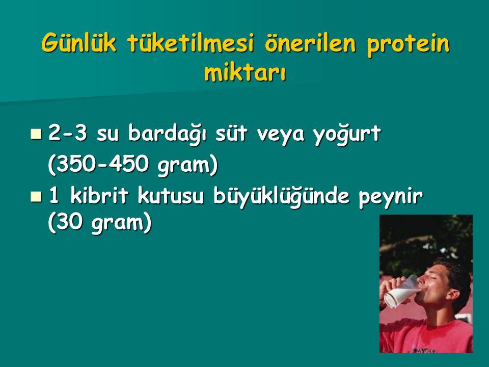 Günlük tüketilmesi önerilen protein miktarı 2-3 su bardağı süt veya yoğurt 2-3 su bardağı süt veya yoğurt (350-450 gram) 1 kibrit kutusu büyüklüğünde peynir (30 gram) 1 kibrit kutusu büyüklüğünde peynir (30 gram)