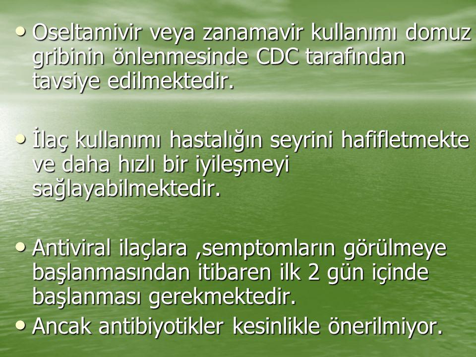 Oseltamivir veya zanamavir kullanımı domuz gribinin önlenmesinde CDC tarafından tavsiye edilmektedir. Oseltamivir veya zanamavir kullanımı domuz gribi